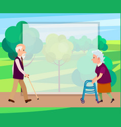 retired man with walking stick and senior woman vector image