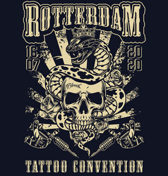 Rotterdam tattoo fest vintage monochrome poster vector