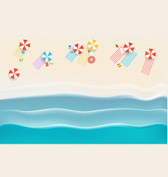 sandy beach with different accessories top view vector image