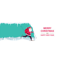 santa claus with bag gift skiing on snowy hills vector image