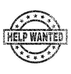 Scratched textured help wanted stamp seal vector