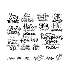 set 11 hand drawn lettering fall autumn vector image