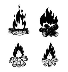set campfire for poster card banner flyer vector image