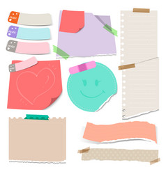 Set of colorful torn note papers with vector
