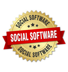Social software round isolated gold badge vector