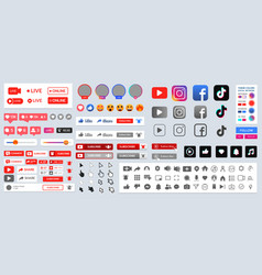 subscribeand social media ui kit shape sign icon vector image