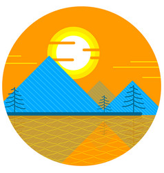sunset doodle icon vector image