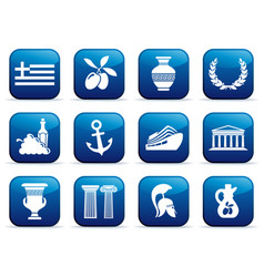 Symbols of greece on buttons vector