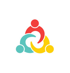 teamwork connection three people logo vector image