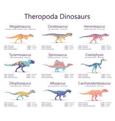 Theropoda dinosaurs colorful vector