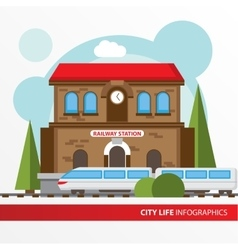 train station building icon in flat style vector image