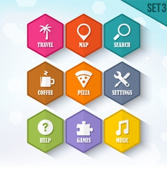 Trendy Rounded Hexagon Icons Set 3 vector image