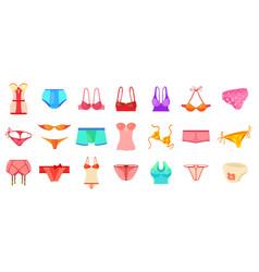 underwear icon set cartoon style vector image