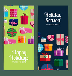 vertical banner templates with gift boxes vector image