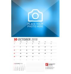 Wall calendar planner for 2018 year october print vector