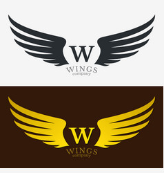 Winged emblem for your company wing silhouette vector