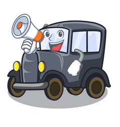 with megaphone old car in shape character vector image