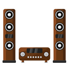 Wooden sound system on white background vector
