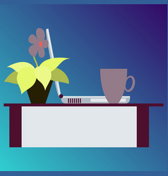 Workplace desk computer plant coffee top angle vector