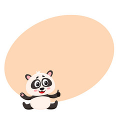 Cute smiling baby panda character sitting showing vector