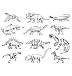 dinosaurs set tyrannosaurus rex triceratops vector image