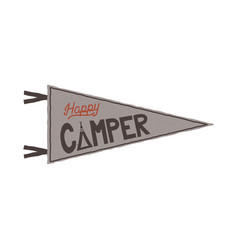 happy camper pennant template tent and text sign vector image vector image