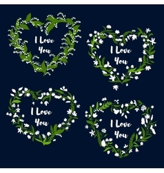 Heart with flowers for Valentine Day card design vector image vector image