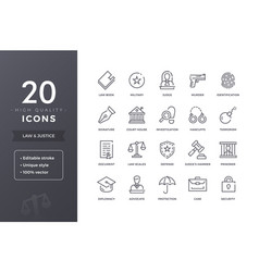 Law line icons vector