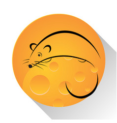 mouse cheese icon vector image vector image