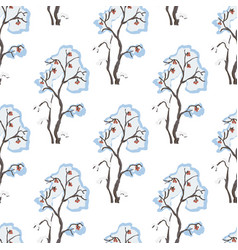 seamless pattern with hand drawn bushes with vector image
