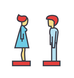 Woman and man profile side view avatars vector