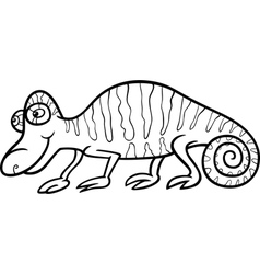 chameleon cartoon coloring page vector image