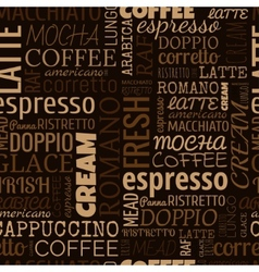 Coffee words tags Seamless pattern vector image