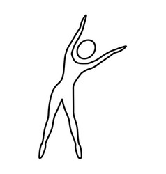 Silhouette woman stretching side right vector