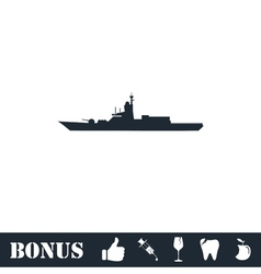 Warship icon flat vector image vector image