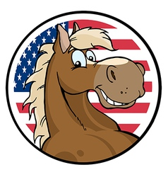 Cartoon Horse In Front Of Flag Of USA vector image