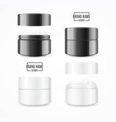 realistic cream can cosmetic product black and vector image vector image