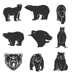 Retro bear mascot for emblems logos icons vector image vector image