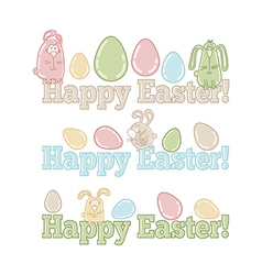 Set of easter symbols - eggs bunnies greeting vector image vector image