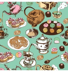 Teapot and cup seamless pattern vector