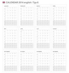 Calendar 2014 English Type 6 vector image vector image