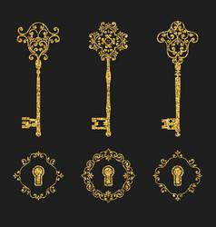 Golden glitter vintage keys and keyholes set vector
