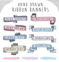 Hand drawn banner and ribbon design set vector image