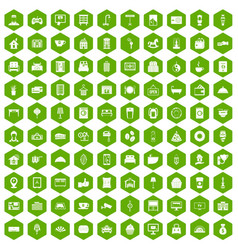 100 hotel icons hexagon green vector