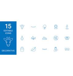 15 decorative icons vector image
