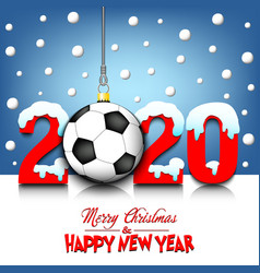 2020 new year and soccer ball hanging on strings vector image