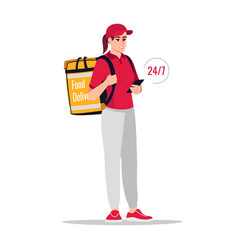 24h order delivery semi flat rgb color vector
