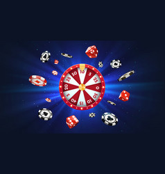 3d fortune wheel with golden flying coins vector image
