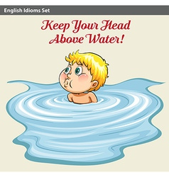 A man keeping his head above the water vector