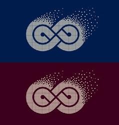 Abstract flying pixel eternity emblem vector
